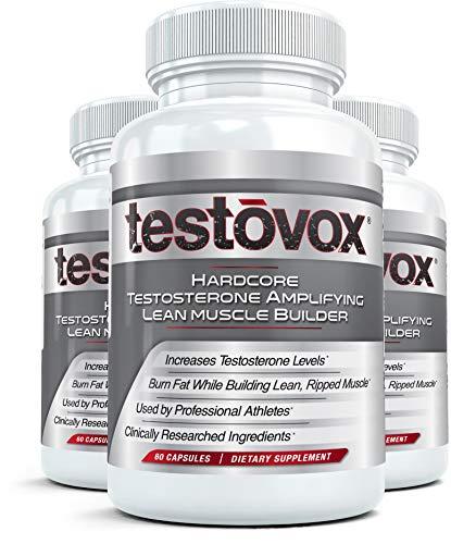 Testovox (3 Botellas) Muscle Builder y Testosterona Booster | Mejorar el rendimiento con suplemento de masa magra anabólica para apoyar las hormonas de crecimiento | 60 cáps cada una