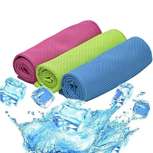 TEQStone 3 Pack Kühlendes Handtücher Mikrofaser Handtuch Set 100 X 30 cm Sofort EIS Kalt Sporthandtuch Microfaser
