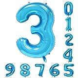40インチの誕生日パーティバルーン(0-9)青の数字アラビア数字3の装飾