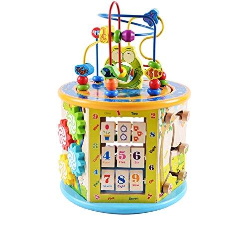 Jouets FEI en Bois perlés de Puzzle de Coffre de trésor de Perle multifonctionnelle pour Les Enfants 1-4 Ans Début Éducation