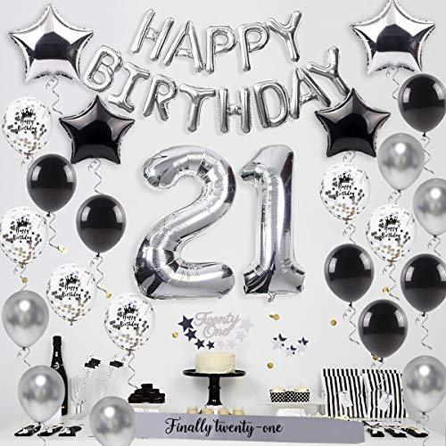 21st birthday party decorations silver – HAPPY BIRTHDAY balloon, Twenty-one cake topper,21 balloon, finally twenty-one sash, star balloon, latex balloons,21 birthday supplies for Boy/Girl, Women/Men