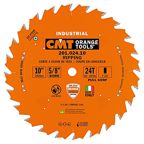 CMT 201.024.10 Industrial Ripping Saw Blade, 10-Inch. x 24 Teeth FTG Grind with 5/8-Inch. Bore, PTFE Coating