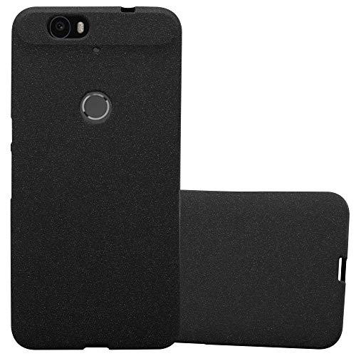 Cadorabo Hülle für Huawei Nexus 6P - Hülle in Frost SCHWARZ – Handyhülle aus TPU Silikon im matten Frosted Design - Silikonhülle Schutzhülle Ultra Slim Soft Back Cover Case Bumper