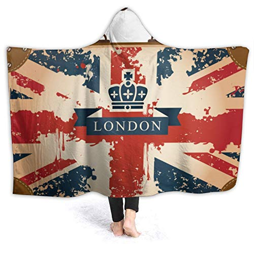 YOLIKA Wearable Hooded Blanket Plush Wrap,Vintage Travel Suitcase With British Flag London Ribbon And Crown Image,Soft Warm Fleece Throw Blanket Cloak Cozy for Couch Bed Home Travel,80' x 60'