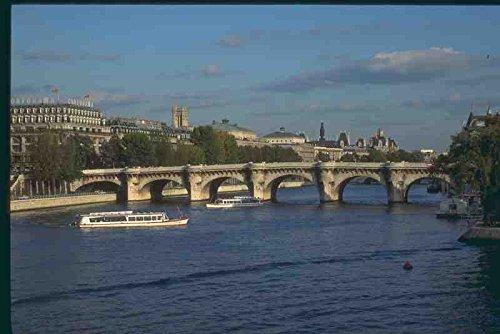 Metalen bord 281054 Cruise Boot En Pont Neuf Op De Rivier Seine A4 12x8 Aluminium