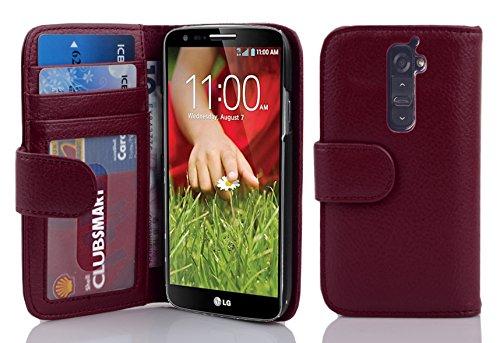 Cadorabo Hülle für LG G2 - Hülle in Bordeaux LILA – Handyhülle mit 3 Kartenfächern - Hülle Cover Schutzhülle Etui Tasche Book Klapp Style