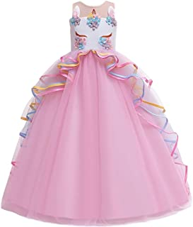 IZKIZF Girls Unicorn Rainbow Princess Birthday Party Carnival Cosplay Dress Up Costume Long Maxi Tulle Evening Gown