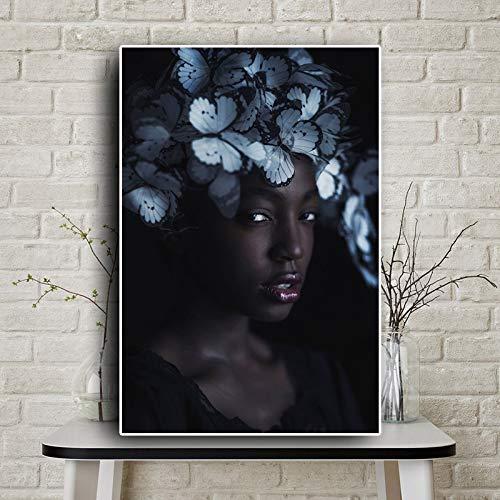 KWzEQ Schwarzes Schmetterlingskandinavisches Mädchen afrikanisches Kunstplakatölgemälde auf Leinwand,Rahmenlose Malerei,75x112cm
