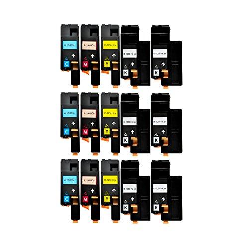 15 Toner kompatibel für Dell 1250 C 1350 1355 CNW C1760 1765 NFW - 59311016 59311018 59311019 59311021 - Schwarz je 2000 Seiten, Color je 1400 Seiten
