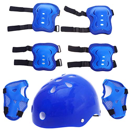 Toyvian 1 Set Kids Helmet Pad Set Skating Knee Elbow Support Pads Outdoors Safety Protection Gear for Scooter Skateboard Bicycle Rollerblades Guard Blue