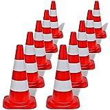 vidaXL 10x Conos de Tráfico Seguridad con Reflectantes Rojos y Blancos 50 cm