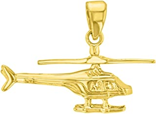 Solid 14K Yellow Gold Helicopter with Motion Moving Propeller Pendant