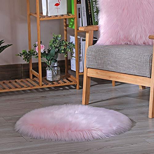 HEQUN Faux Lammfell Schaffell Teppich, Lammfellimitat Teppich Longhair Fell Optik Nachahmung Wolle Bettvorleger Sofa Matte(Rosa, 60X 60 cm)