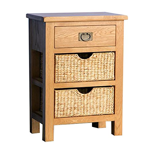RoselandFurniture Surrey Oak Telephone Table with Baskets | Traditional Rustic Waxed Solid Wooden Tall Hall Side End Stand Small Console for Modern Hallway, Living Room or Entryway, Fully Assembled