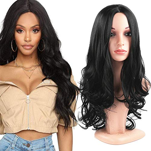 Fani Wigs Long Wavy Black Wigs for Women 22 Inch Body Wave Middle Part Synthetic Full Wig Cosplay Morticia Addams Wigs with Free Wig Cap