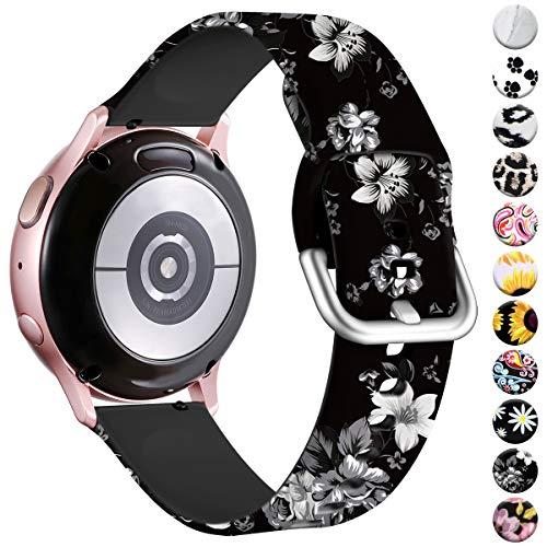 Vobafe Armband Kompatibel mit Samsung Galaxy Watch Armband, Fadeless Gedruckt Silikon Ersatzarmband für Galaxy Watch Active/Active 2 40mm/44mm/Watch 3 41mm/Gear Sport Uhrenarmband, Blumen Grau