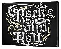 なまけ者雑貨屋 Cinema Rock and Roll メタルプレート アンティーク な ブリキ の 看板、レトロなヴィンテージ 金属ポスター 、20x30cm