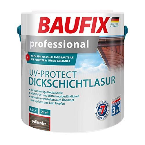 BAUFIX professional UV-Protect Dickschichtlasur palisander, 2.5 Liter, tropfgehemmt, Grundierung, Lasur und Schutz in einem, bis zu 7 Jahre Wetterschutz, auch für maßhaltige Holzbauteile