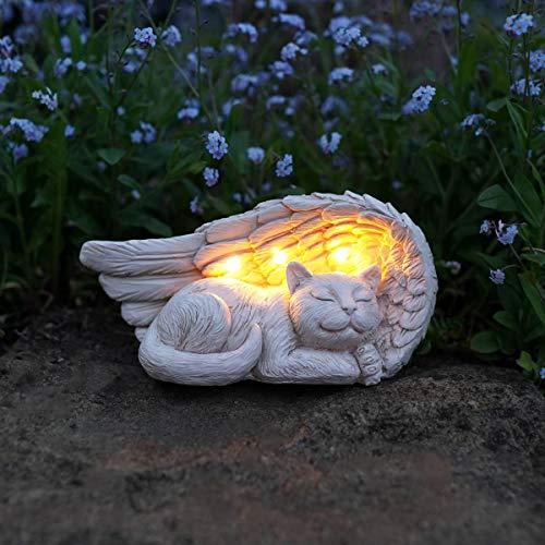 Festive Lights Geschmackvoll und liebevoll gestalteter Gedenkstein mit solarbetriebener LED Beleuchtung – inkl. Akkus, integrierten Solarpaneelen und Dämmerungsschalter, (Engelsflügel mit Katze)