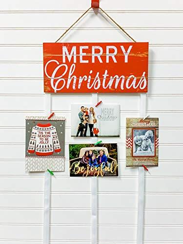 Christmas Card Holder - Merry Christmas (Red & White)