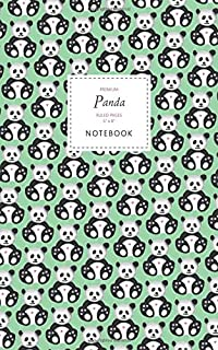 Panda Notebook - Ruled Pages - 5x8 - Premium: (Green Edition) Fun notebook 96 ruled/lined pages (5x8 inches / 12.7x20.3cm ...