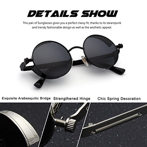 CGID E72 Retro Steampunk Style Unisex Inspired Round Metal Circle Polarized Sunglasses for Men and Women steampunk buy now online