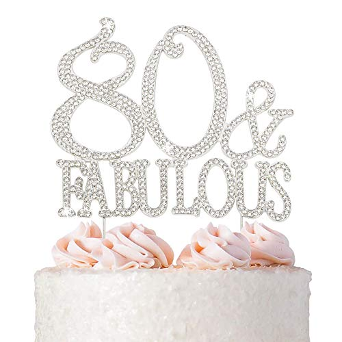 80 Cake Topper - Premium Silver Metal - 80 and Fabulous - 80th Birthday Party Sparkly Rhinestone Decoration Makes a Great Centerpiece - Now Protected in a Box