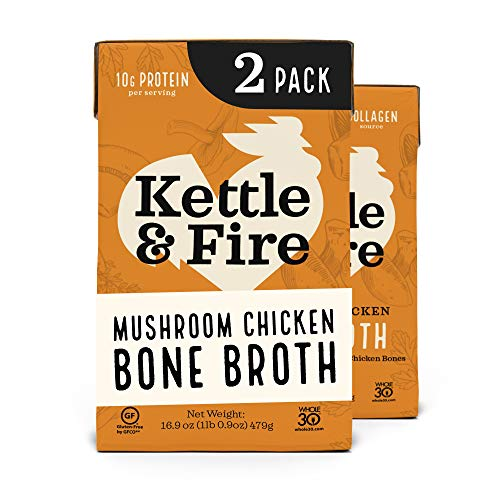 Kettle and Fire Mushroom Chicken Bone Broth, Keto, Paleo and Whole 30 Approved, Gluten Free, High in Protein and Collagen, 2 Pack