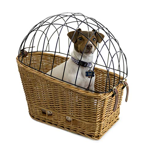 Cape May Large Rear Mount Willow Bicycle Basket for Dogs - Hand Crafted by Beach and Dog Co - Cage and mounting Bracket Included