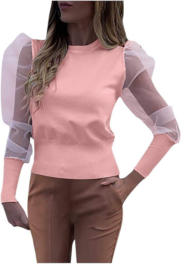 Kangma Women's Mesh Solid Patchwork Pullover Shirt Sheer Raglan Long Puff Sleeve Ruched Knit Blouse Tops (2,Pink)