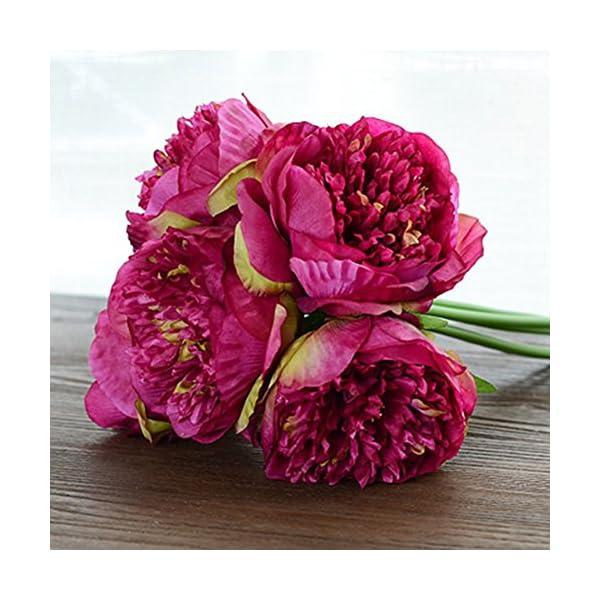 ZUMUii – Ramo con 5 flores artificiales, peonias, fucsia