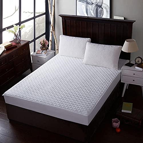 XGguo Protector de colchón - Protector de colchón antialérgico Sábana de Hotel de una Sola Pieza de algodón Engrosamiento-White_150 * 200cm