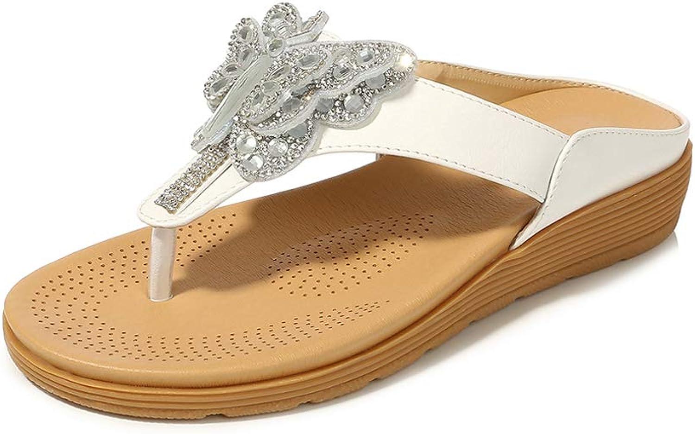 Navoku Women's Leather Flat Beach Jeweled Flip Flops Thong Sandals