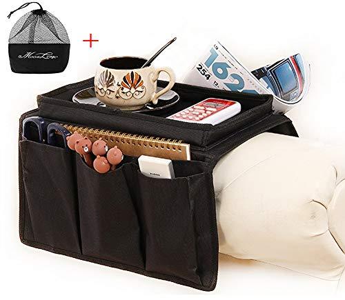 IPENNY Armlehne-Organizer für Sofa oder Bett, Aufbewahrungstasche für Fernbedienung, Handy, Tablet, Notizblock, Bücher, Zeitschriften, DVD, Brillen, Trinker, Snacks Schwarz (mit Ablage oben)