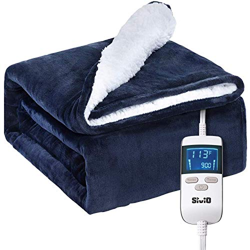 """Sivio Electric Fast Heating Blanket 50"""" x 60"""" Flannel & Sherpa Reversible Throw, 8 Heat Settings, 2 Hours Auto-Off with Timer, UL Certified, Bed & Couch Use"""