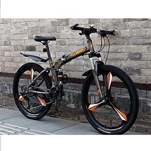 MENG Bicicleta Plegable para Adultos, Bicicleta de Montaña Adulta, M de Acero de Alto Contenido de Carbono Dual Suspensión Completa Dual Disco Freno de Disco, Bicicleta Al Aire Libre para Uso Diario