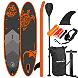 Nemaxx Stand Up Paddle Gonflable 297x76x15 cm, Orange Turtle/Tortue Orange - Sup, Planche de Surf Gonflable et Facile à Transporter - Sac de Voyage, pagaie, aileron, Pompe à air, kit de réparation
