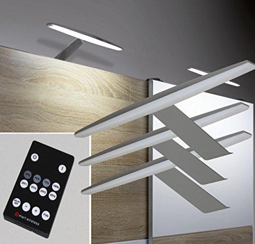 LED Aufbauleuchte 3er Set Dimmbar Fernbedienung Alu warmweiß #2405-3/4154möb Schrankleuchte Möbelbeleuchtung