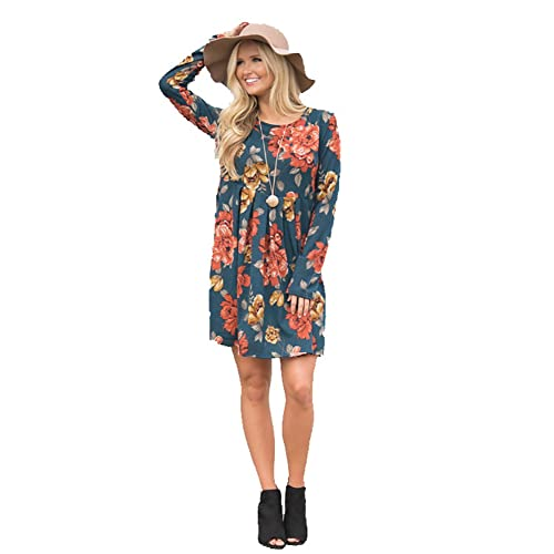d079025a79f06 Vruan Floral Dresses for Women Long Sleeve A-line Pleated Casual Dresses  Swing Tunic T
