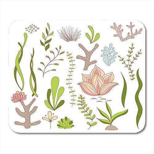 Mousepad, kleurrijke zee, geslaagde planten onder water, zeealgen, koraalbloemen, witte illustraties, tropische muismat, groen