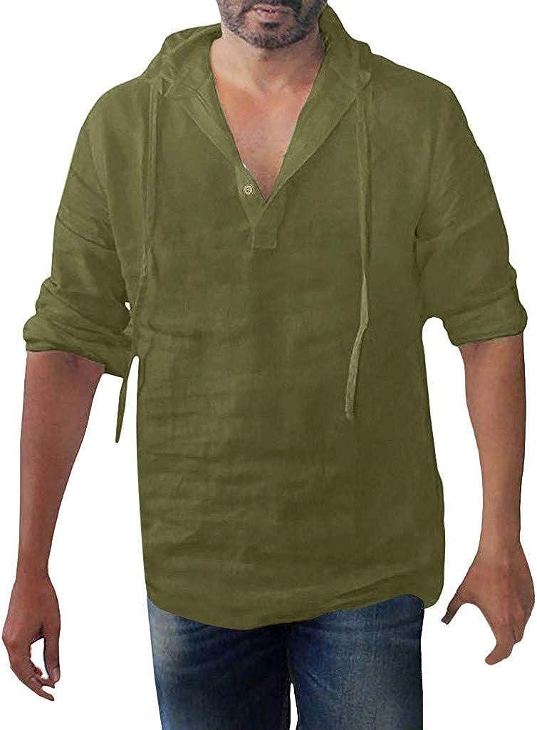IHGTZS Shirts for Men, Men's Baggy Cotton Linen Solid Button Plus Size Long Sleeve Hooded Shirts Tops
