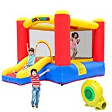 JOYMOR Inflatable Bounce House w/Air Blower, Slide Castle Indoor/Outdoor Playhouse for Little Kids