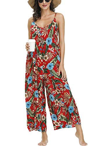 BUENOS NINOS Women's V Neck Floral Maxi Dress Boho Printed Adjustable Spaghetti Strap Ethnic Beach Long Dress with Pockets (S, Red Jumpsuit) (Apparel)
