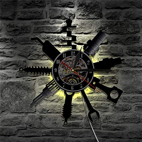 Reloj de pared para garaje con herramienta de reparación de discos de vinilo, reloj de pared de servicio de coche, rueda de coche, reloj de pared, decoración del hogar, reparación de regalo, luces LED