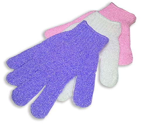 Peelinghandschuh Set (3 Paar)- Peeling Handschuh für Gesichtspeeling und Körperpeeling (Weiss, Pink, Lila)