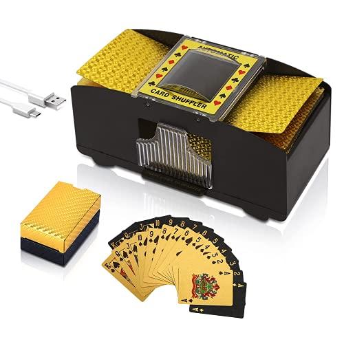 Smalibal Mischia Carte Automatico, Mescola Carte a Batteria/USB con 2 Mazzi di Carte, Portatile Mescolatore Carte da Gioco per Casa, Giochi da Club, Poker, Blackjack, Uno, Texas Hold'em