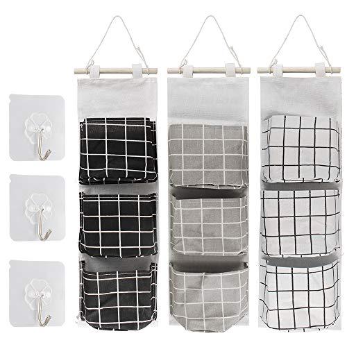 Aipaide 3 Stück Hängende tasche,Tür Wand Organizer Hängetasche mit 3 Taschen,Wand Aufbewahrungstasche für Kinderzimmer Badezimmer Schlafzimmer,3 Farben