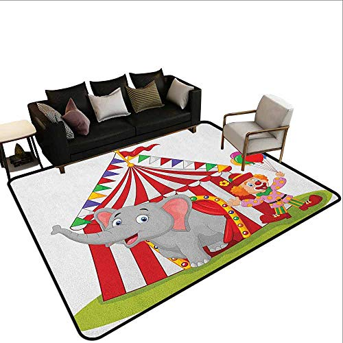MsShe Children's toy carpet Circus,Cartoon Cute Elephant Standing with Clown Circus Tent Enjoyment Funfair Illustration, Multicolor
