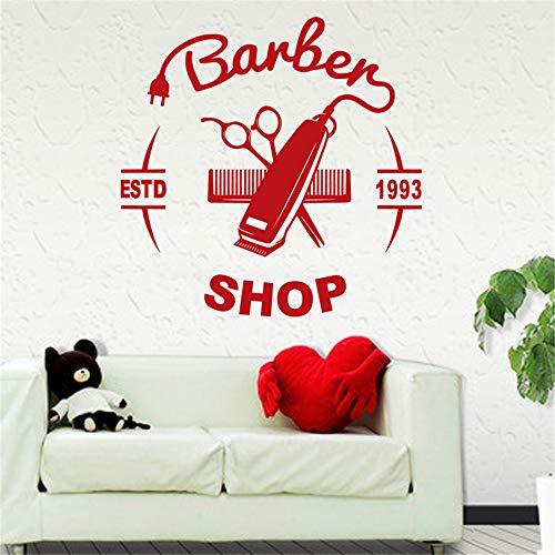 Crjzty Mann Friseur Aufkleber Name Chop Brot Aufkleber Haarschnitt Haarschneider Rasierer Poster Vinyl Wandkunst Aufkleber Decor Rot 40x40 cm