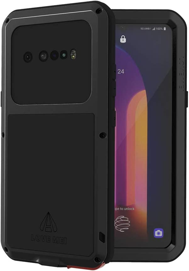 LOVE MEI LG V60 ThinQ Case with Tempered Glass Screen Protector Shockproof Scratch Proof Hybrid Metal and Silicone Gel Heavy Duty Armor Defender Tough Back Cover for V60 ThinQ / V60 (Black)